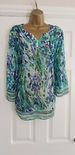 LADIES BLUE CHIFFON TOP SIZE 18 APPROX BY MARKS and SPENCER