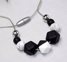 Silicone Necklace marble black white Baby Tapuu  jewellery cord chunky mum
