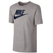 Men's Nike Large Swoosh Logo Fitted T-shirt Top - Grey L