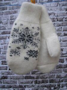 Mittens homemade knitted Russian 100% pure sheep wool yarn craft very  warm