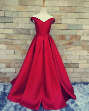 Red A-line Off Shoulder Pageant Party Red Carpet Dress Evening Formal Ball Gown