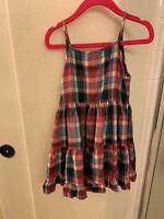 NEXT UK gils dress size 6 purple plaid summer dress