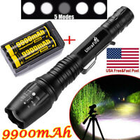 90000LM T6LED Flashlight Rechargeable Zoomable Torch+18650 Battery&Dual Charger