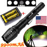 900000LM T6LED Flashlight Rechargeable Zoomable Torch+18650 Battery&Dual Charger