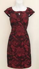 MADISON LEIGH PETITE Womens Dress Sz 8P Red Black Sheath Floral Cap Sleeve Lined