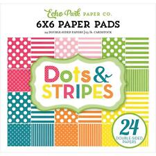 Spring Dots & Stripes Collection Scrapbooking 6x6 Paper Pad 24 Sheet Echo Park