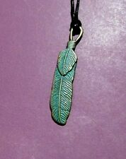 Feather Indianl Wing Patina Verdigris Bronze Pendant Adjustable Necklace