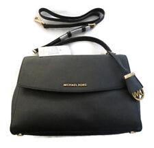 BNWT Michael Kors Black AVA Handbag Satchel Shoulder Bag Crossbody Gold MEDIUM