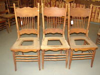 3 Antique Pressed Back Chairs - Hole Cane - Old Finish - For Restoration