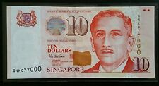 Singapore $10 Paper Potrait  Banknote With Fancy Number HTT ONK 077000 UNC