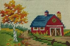 "Fall Barn Needlepoint Finished Landscape 8"" x 5"" Autumn Red Orange Yellow Green"