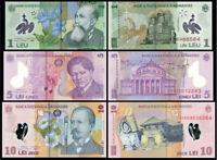 ROMANIA RUMANIA SET 3 pcs 1+5+10 LEI LEU 2005-2008 UNC