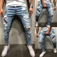 Mens Ripped Jeans Stretch Skinny Slim Fit Denim Pants Destroyed Pencil Trousers
