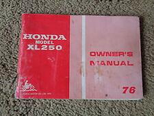Honda 1976 XL250 Owners Manual Factory Original