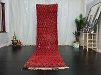 Handmade Moroccan Vintage Runner Rug 3x12.2 Berber Geometric Red Black Wool Rug