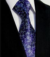 Luxury Mens Lavender Wedding Necktie -Tie Black Purple- Silk Floral Paisley Gift