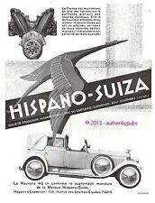 PUBLICITE AUTOMOBILE HISPANO SUIZA 46 CV TOUR DU MONDE COSTE LE BRIX DE 1930 AD