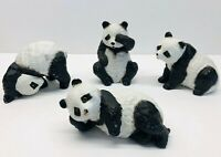 Vintage Set Of 4 Ceramic Panda Bear Figurines
