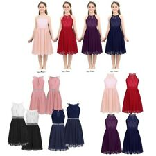 Flower Girls Long Dress Wedding Bridesmaid Kids Party Formal Princess Prom Gown