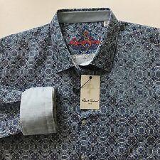 Robert Graham Shirt Sz 2XL Perfect Day Mens Blue Classic Fit Geometric LS New