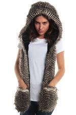 Night Owl Faux Fur Animal Hat Hood Winter Ski Snow Pet with Paws mitten 3 in 1