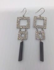 Wedding/Bridal/Formal long Square  Shaped Black Crystal  Earring