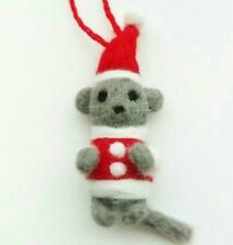 Needle felted Mouse Christmas ornament
