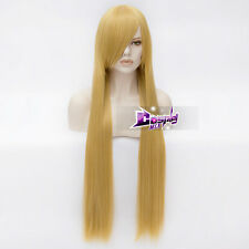 100CM Yellow Blonde Long Straight Hair Anime Heat Resistant Cosplay Wig + Cap