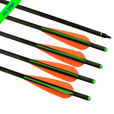 "6X 18"" Carbon Crossbow Bolts Hunting Arrow 125gr Screw Points Moon Nock Shooting"