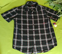 64d1fe21be25 TONY HAWK Short Sleeve Button Down Plaid Flannel Shirt Black Red Gray Sz M  EUC
