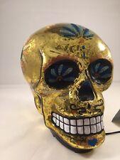 Gold Glass SKULL Light Up Figurine Battery Op New