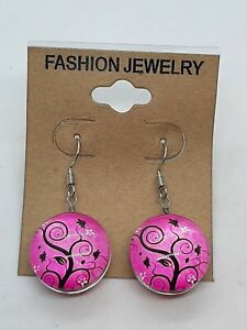 New Pink Colorful Tree Of Life Double Sided Dangle Earrings Glass/Resin Cab