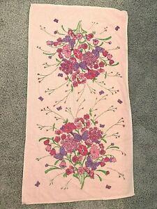 "VINTAGE DUNDEE ROSE FLORAL HAND TOWEL PASTEL PINK PURPLE 15""  x 25"""