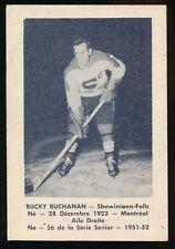 1951-52 Laval Dairy (QSHL) #56 BUCKY BUCHANAN (Shawinigan) -Rangers