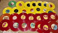 HUGE LOT OF 54 COLORED RECORDS FOR ARTS & CRAFTS DECORATION RED YELLOW MUST SEE!