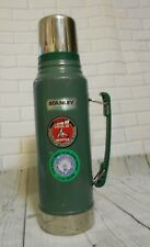 "Vintage 14"" Stanley Green Stainless Steel 1 Quart Handle Thermos Union Stickers"