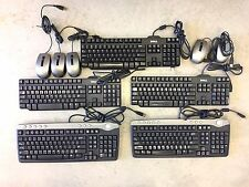 LOT of 5- Dell SK-8125 / RT7D50 Keyboards and 5 Dell 0M534D Optical USB Mice