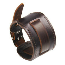 Men's Wide Leather Watchband Biker Cuff Wristband Bracelet Fashion Jewelry Gift
