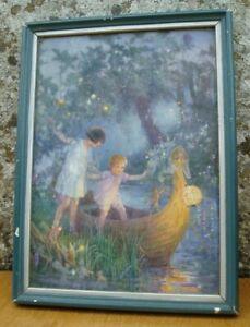 Vintage Margaret Tarrant framed picture - Boat To Fairyland