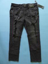 Decree Flex Denim Slim Straight Size 36 W x 32 L Black Worn Destroy Jeans RP $50