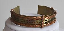 VINTAGE 70's OOAK ARTISAN mixed metals men women CUFF BRACELET copper & brass