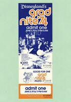 Disneyland Vintage Unused Ticket Stubs Attached Grad Nite June 11, 1974