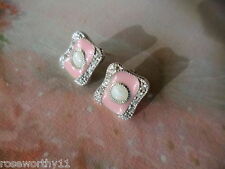ANTIQUE VINTAGE ART DECO OPAL and PINK ENAMEL STERLING SILVER EARRINGS EAR RINGS
