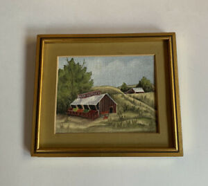 Oil Painting Farm and Country Landscape Small Farm Produce Store Small Signed