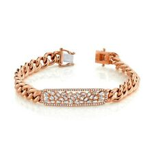 Baguette Diamond Cuban Chain Link Bar Bracelet 14K Rose Gold Womens 1.12 TCW