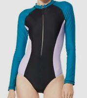 $194 Speedo Women's Black Blue Colorblock Rash-Guard One-Piece Swimsuit Size L
