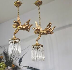 Beautiful French Antique Vintage cherub Putti chandelier.Crystal light shade