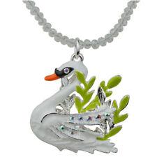 Kirks Folly Fairyland Swan Beaded Necklace sterling silvertone