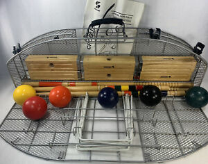 SPORTCRAFT CROQUET SET- Metal Cage 6 person Wickets Complete square heads used