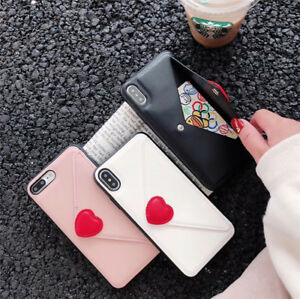 Envelope Love Card Pocket Leather Case Cover for iPhone 12 11 Pro XS Max XR 7 8+